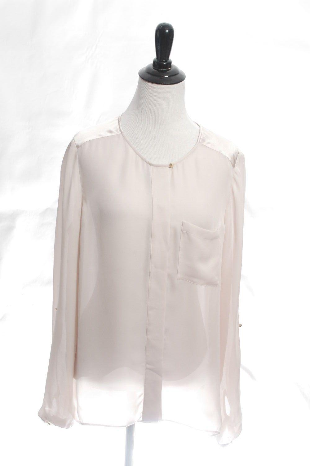 521dcbeb6e0b4 Massimo Dutti Designer Mulberry Silk Career Long 3 4 Sleeve Zara M Blouse  Shirt