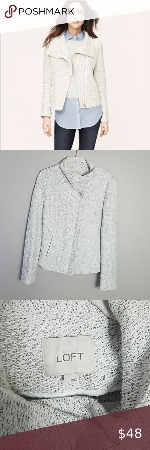 Loft Zip Sweatshirt Jacket, Large Loft Zip Sweatshirt Jacket, Size Large in White with Black Speckles, Zips up the Front.  70% Cotton, 30% Polyester. Measures approximately 23