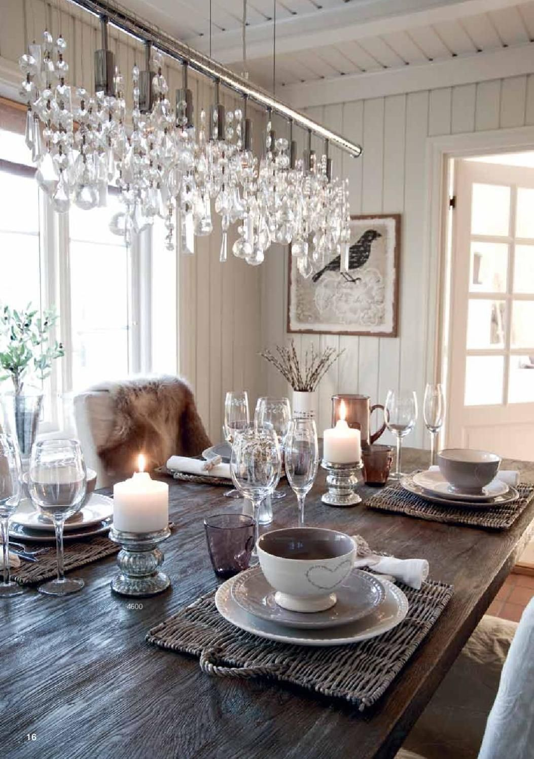 Dining Room Dark Romantic: Neutral, Dining Room, White Cream Dishes, Candels, Bird