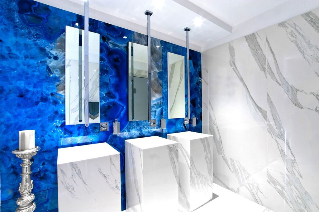 Mirage jewels calacatta reale privilege quarzo blu marble look