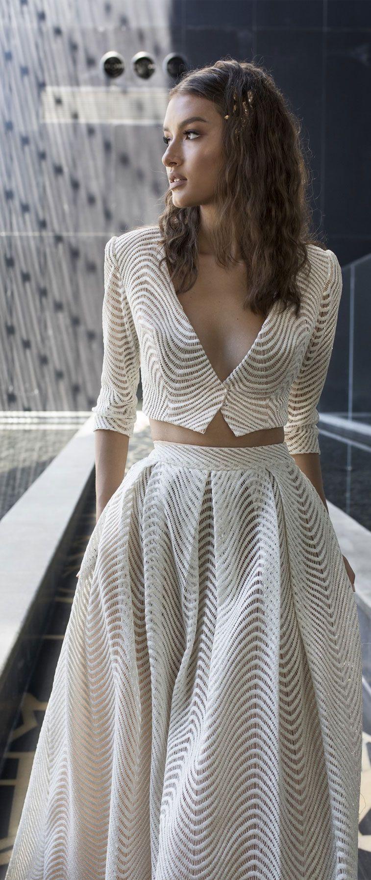 Two piece 3/4 length sleeves a line wedding dress with pockets : Dimitrius DaliaWedding Dress - Diamond Bridal Collection #weddingideas #weddinginspiration #weddingdress #weddinggown #weddingdress #bridedress