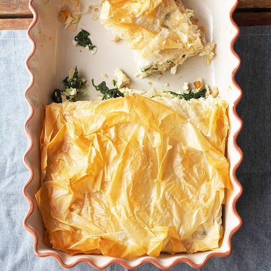 Light and flaky phyllo dough make this Chicken and Spinach Phyllo Bake a savory casserole for the holidays: http://www.bhg.com/recipes/casseroles/crowd-pleasing-holiday-casseroles/?socsrc=bhgpin121213chickenandspinachphyllobake&page=19