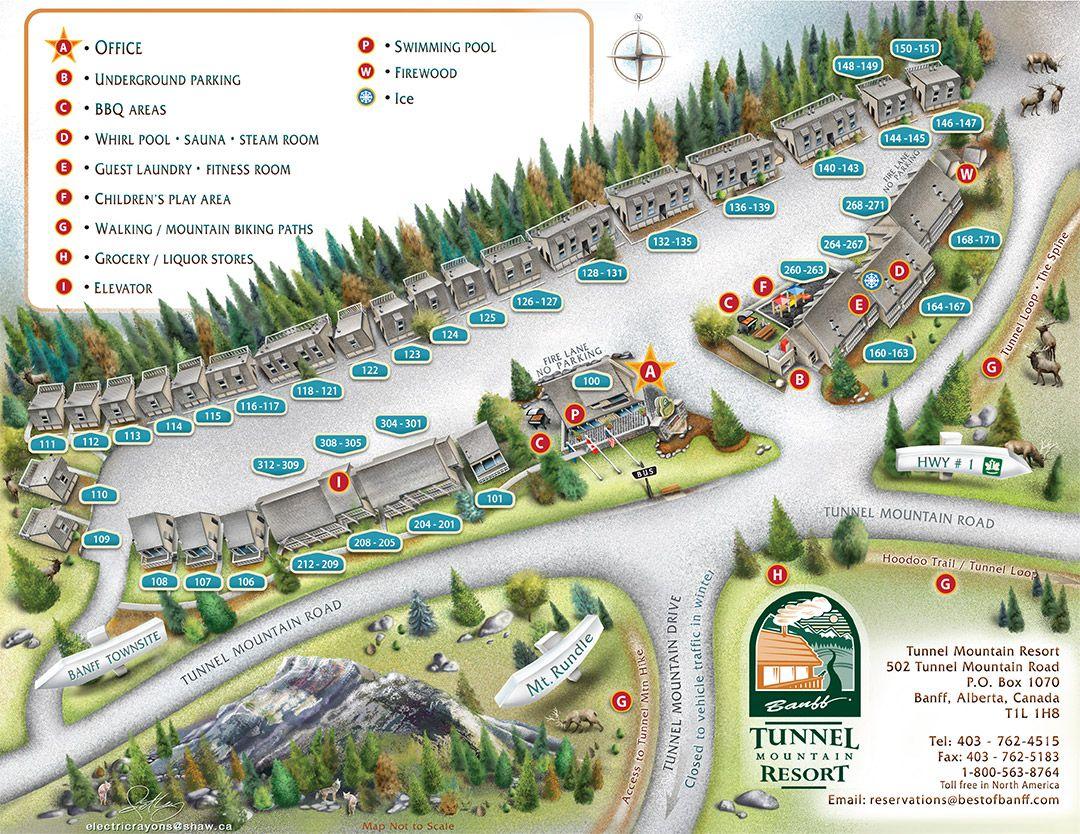 tunnel mountain resort map   travel: alberta   mountain resort