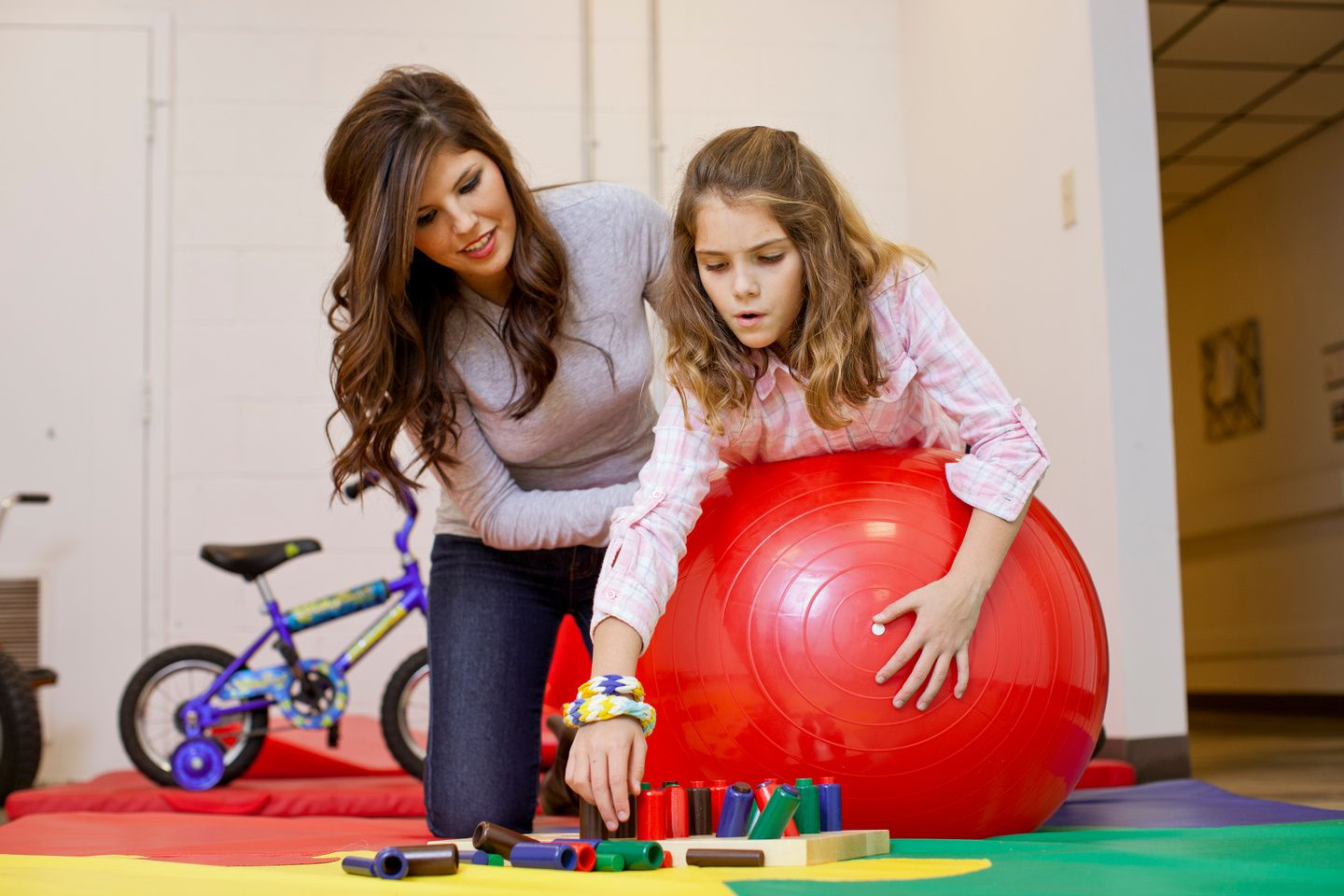 Motor Planning Lying On Therapy Ball To Do Activities Throw Balls Into Box Etc