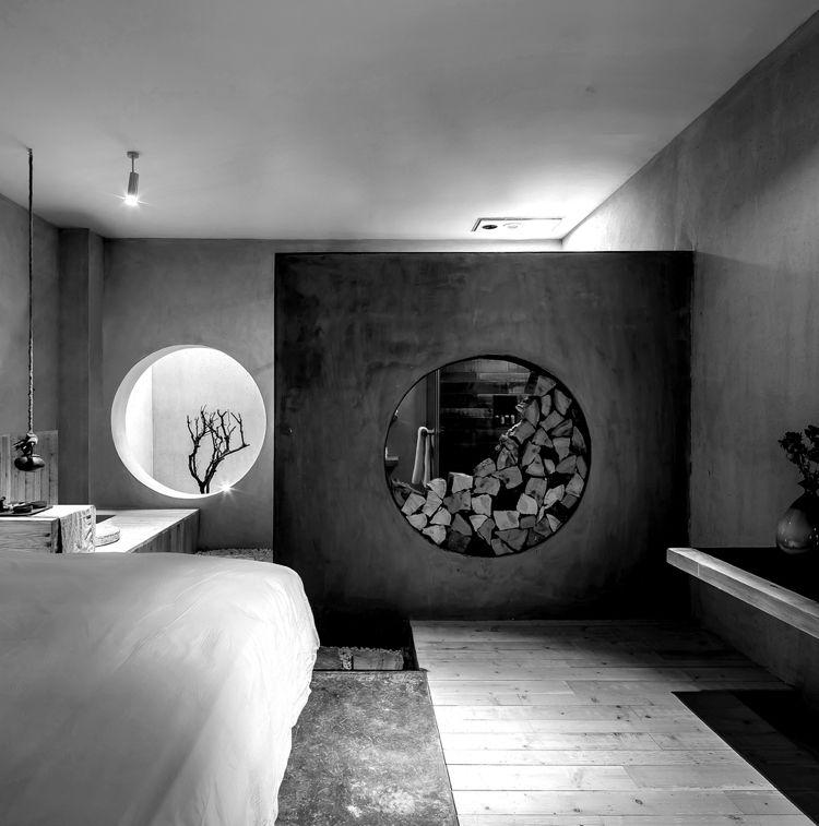 Zen design hotelzimmer minimalistisch holz betonw nde for Hotelzimmer design