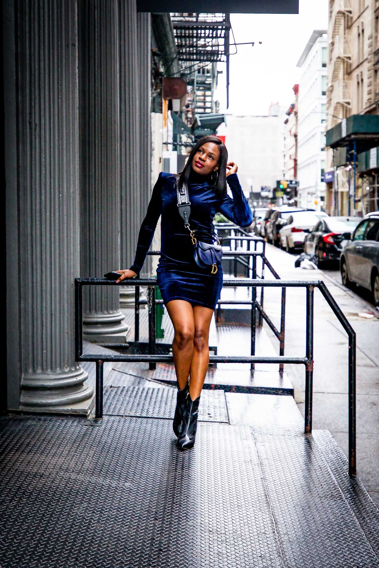 eaff7ee005c How to give your velvet dress a stylish edge for the holidays. Holiday  fashion with Atlanta blogger Monica Awe-Etuk.