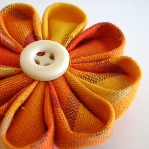 Kanzashi flower brooch pin in plaid red yellow and orange cotton