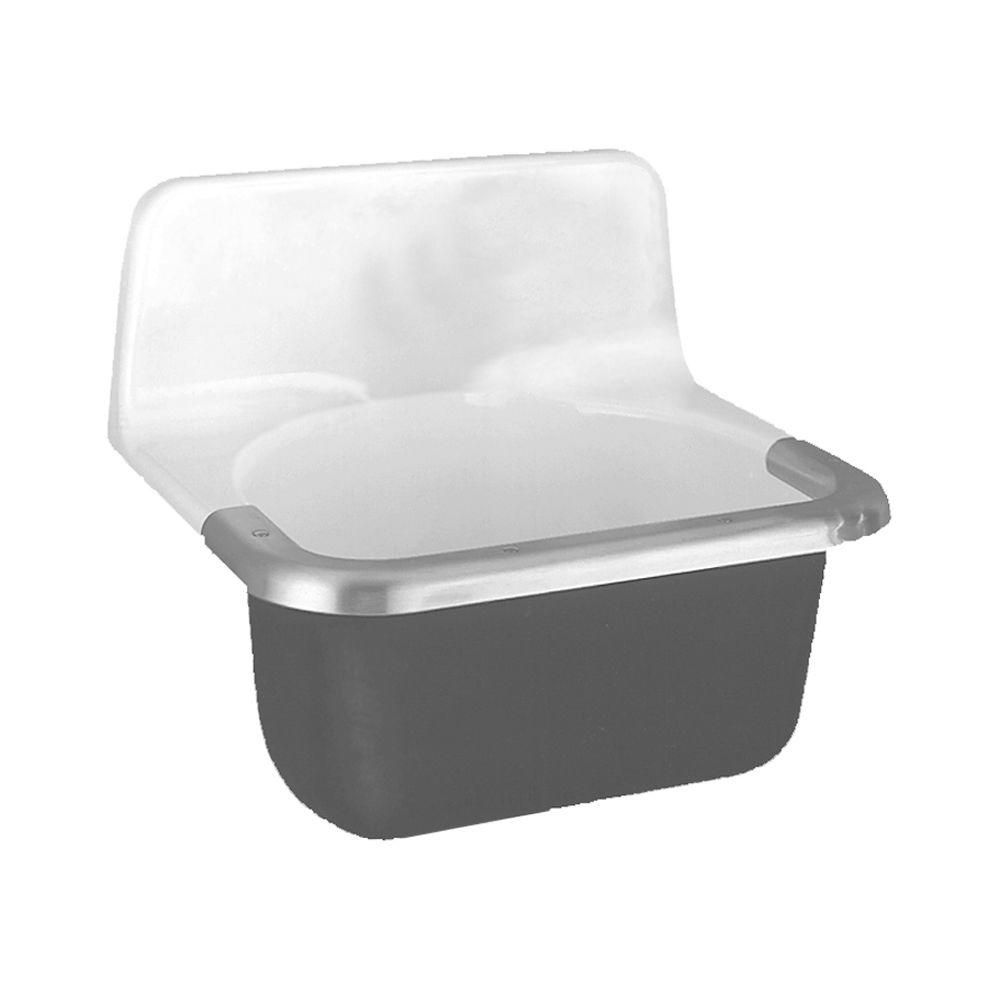 Lakewell 22 in. x 18 in. x 20.25 in. Cast Iron Enameled Service Sink ...