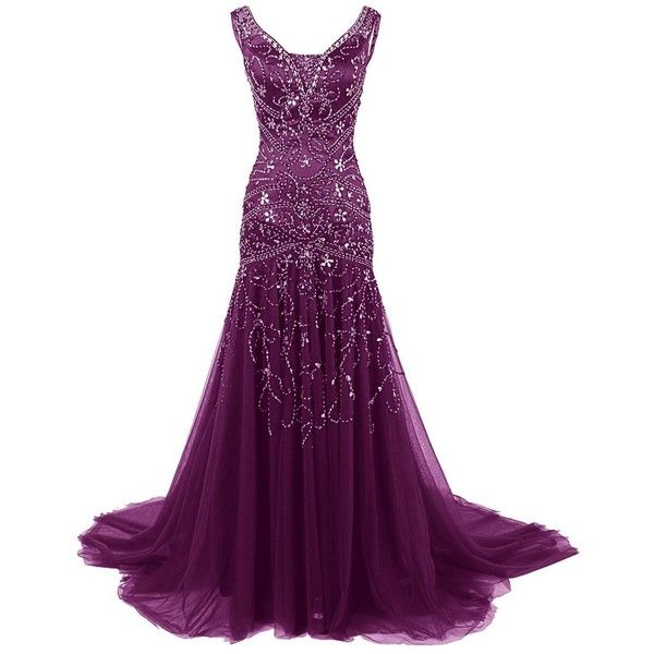 Dressystar V Neck Beaded Mermaid Bridal Prom Dress Evening Ball Gown... ($149) ❤ liked on Polyvore featuring dresses, prom gowns, v neck dress, purple gown, v neck prom dresses and beaded evening dresses