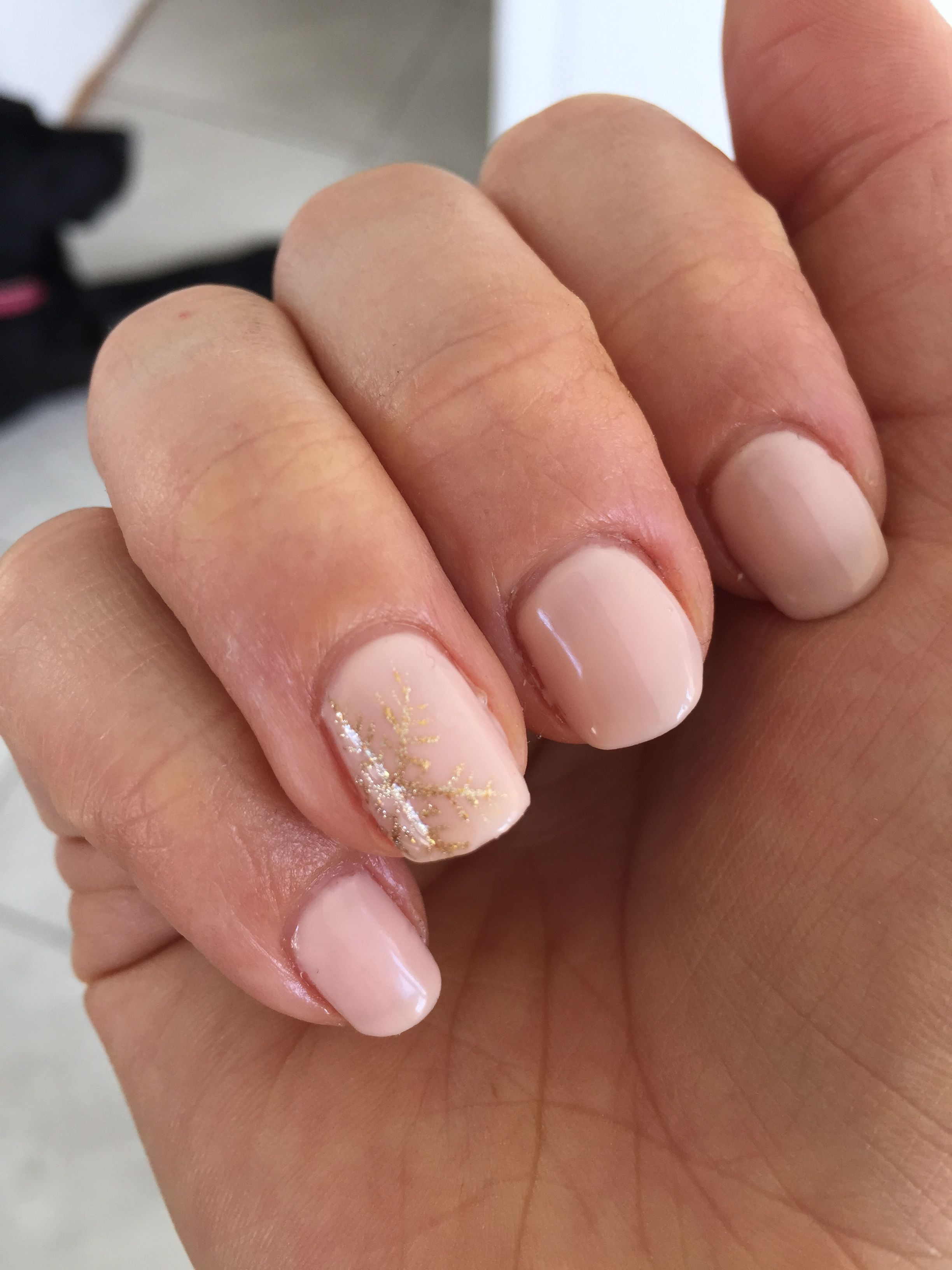 Subtle Christmas Nails Gold Snowflake On Light Pink