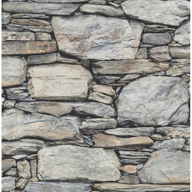 I Love Wallpaper™ Distinctive Slate Stone Wall Wallpaper Natural Grey (ILW980062) - Wallpaper from I love wallpaper UK