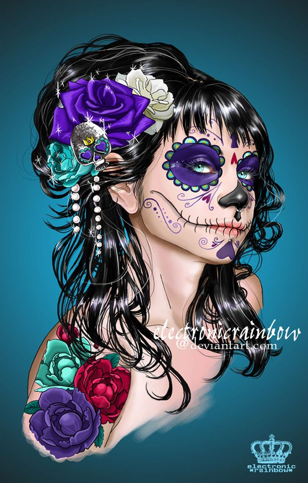 *electronicrainbow, beauty, day of the dead, flowers, girl, illustration