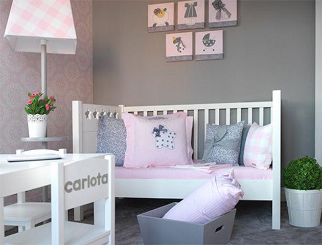 Habitacion de bebe rosa y gris habitacion bebe for Habitaciones pintadas en gris azulado