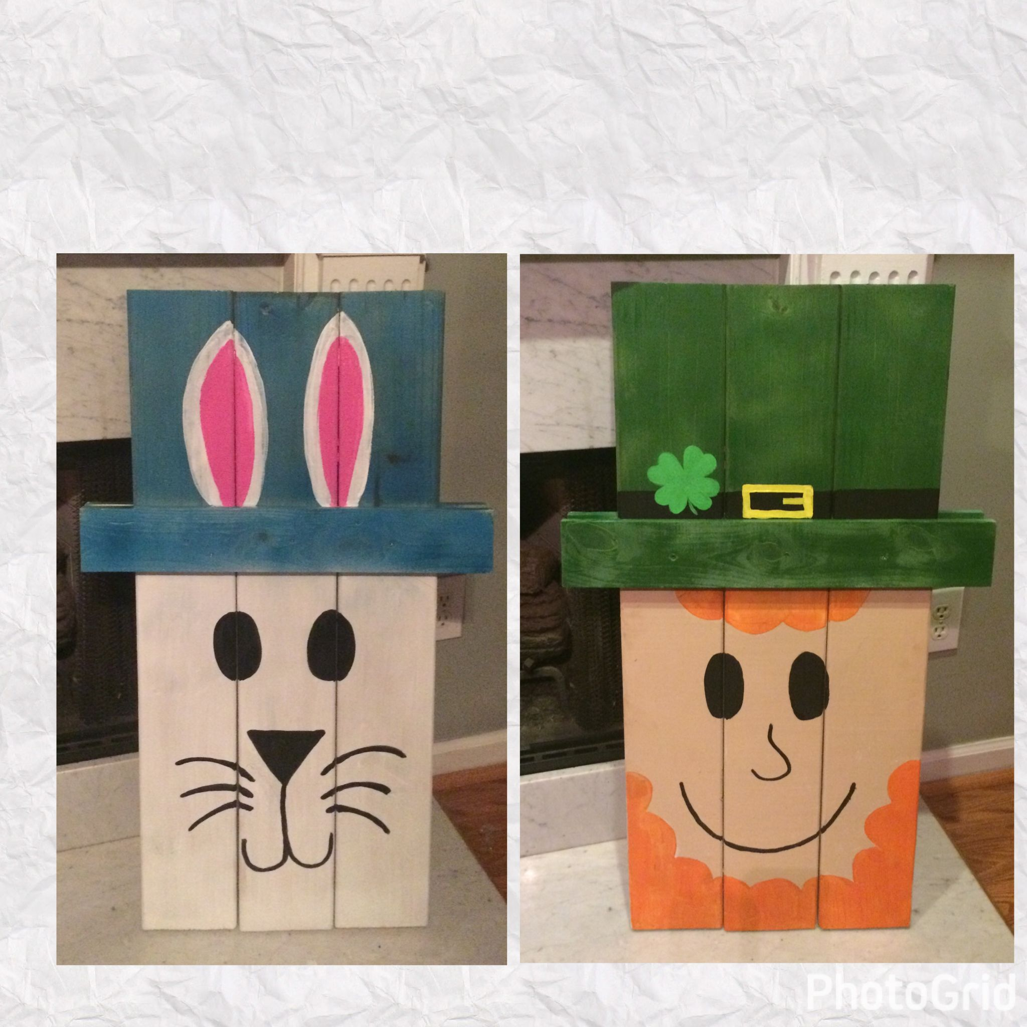 Reversible Bunny And Leprechaun Wooden Craft