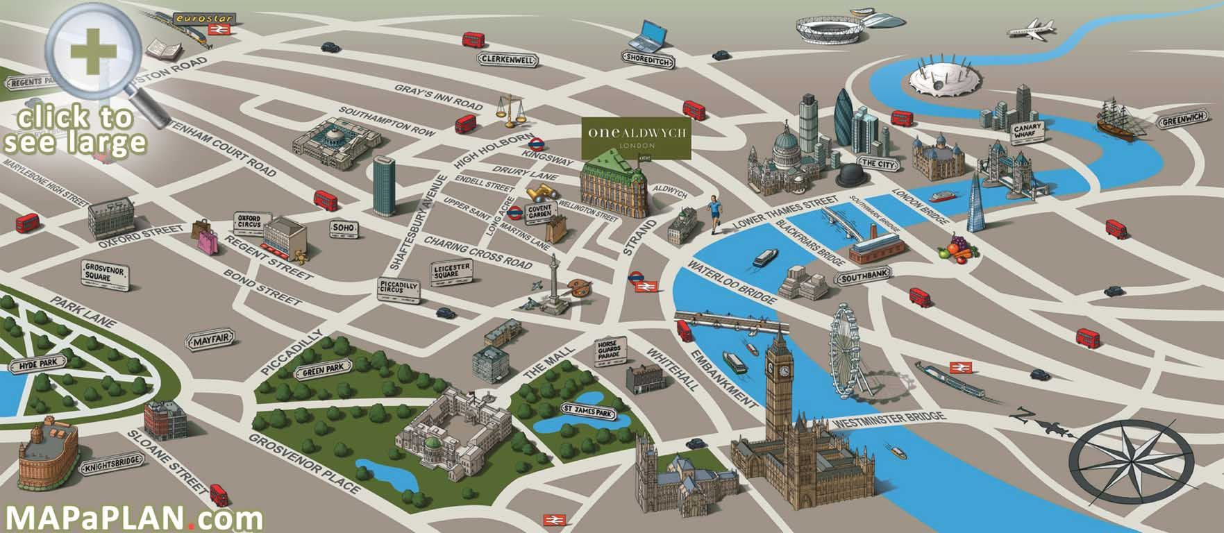 London Attractions Map Landmarks Birds Eye View London Top - Usa map and landmarks