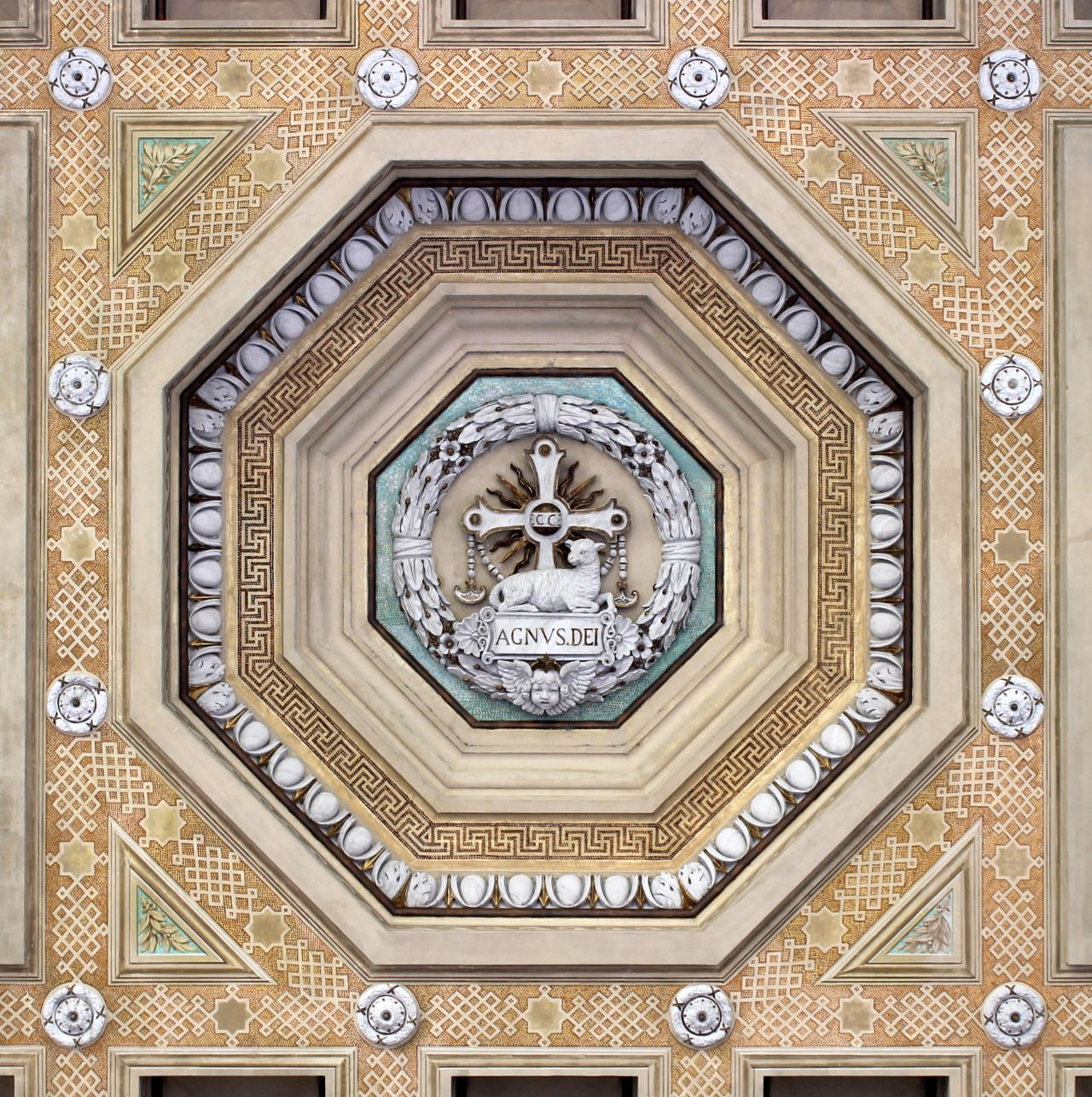 """echiromani: """"Coffered ceiling at Saint Paul Outside the Walls: Ecce Agnus Dei, Behold the Lamb of God. """""""