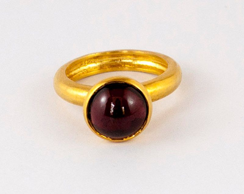 Garnet Solitaire Ring Silver Band Ring