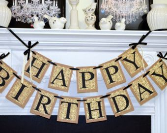 HAPPY BIRTHDAY Banner Birthday Party Decorations Damask Sign Rustic Adult Unisex