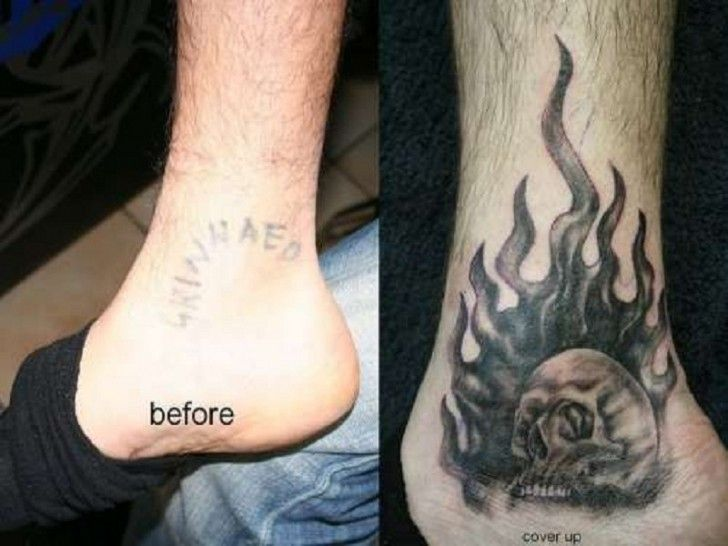 Ankle Skull Flames Cover Up Tattoo Ideas Http Tattooeve Com Cover Up Tattoo Ideas Tattoo Ideas Cover Up Tattoos Cover Up Tattoo Cover Tattoo