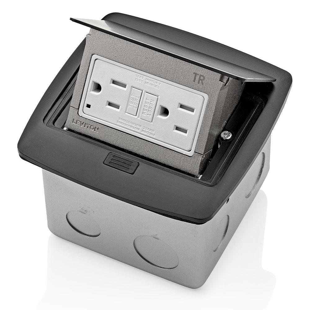Leviton Pop Up Floor Box With 15 Amp Tamper Resistant Self Test Gfci Outlet Black Pfgf1 Mb The Home Depot In 2020 Floor Boxes Leviton Gfci