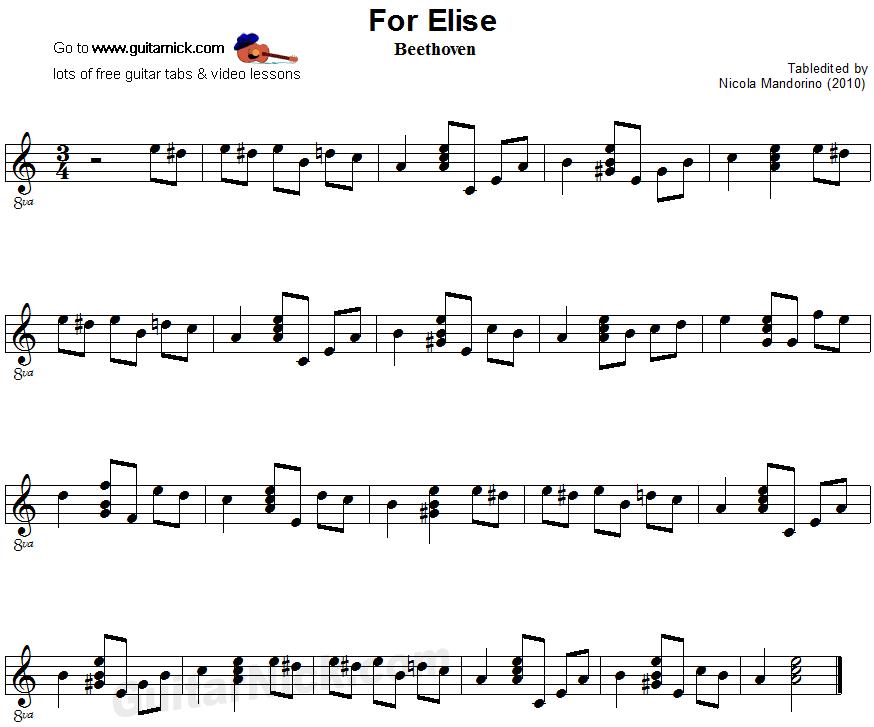For Elise: easy guitar sheet music | Music | Pinterest | Easy guitar ...