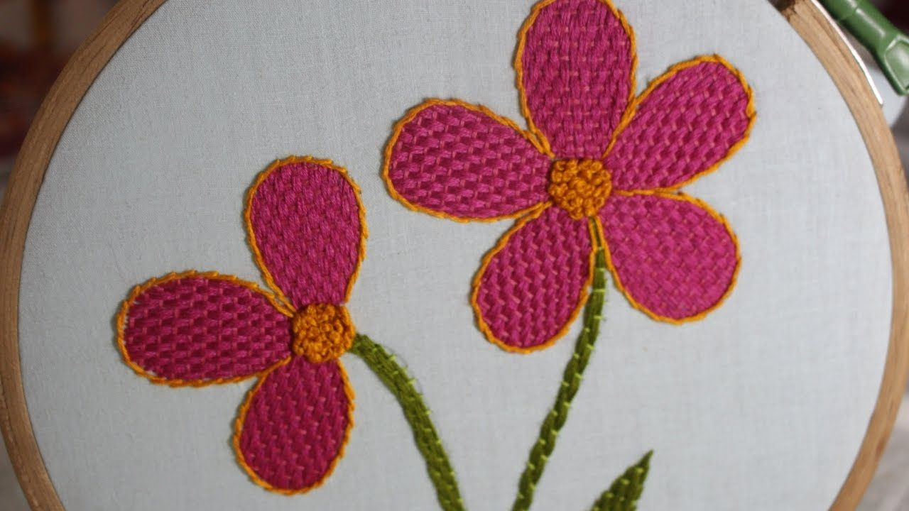 Hand Embroidery Designs   Checkered flower stitch   Stitch and ...