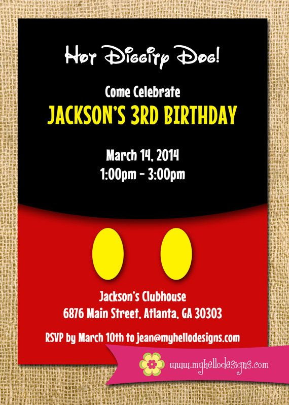 Printable Mickey Mouse Inspired Birthday Party Invitation DIY - mickey mouse clubhouse invite boy girl birthday party child children