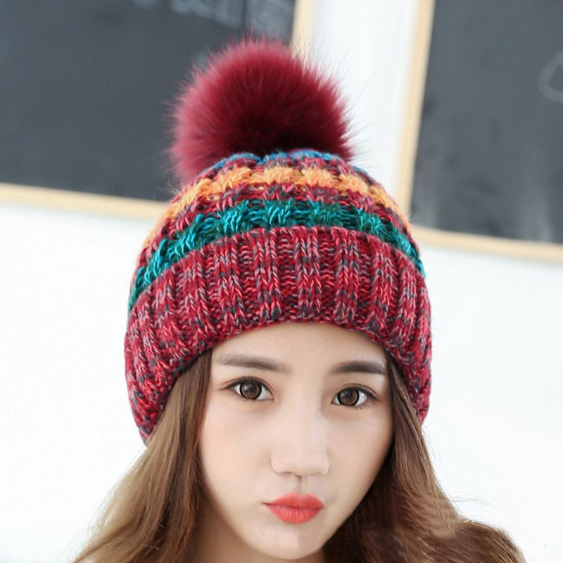 7b2347349e9 Kingsnower Woolen Caps Ladies Women s Winter Thicken Velvet Hats Female  Knitted Warm Hat for Girls Beanies Skullies