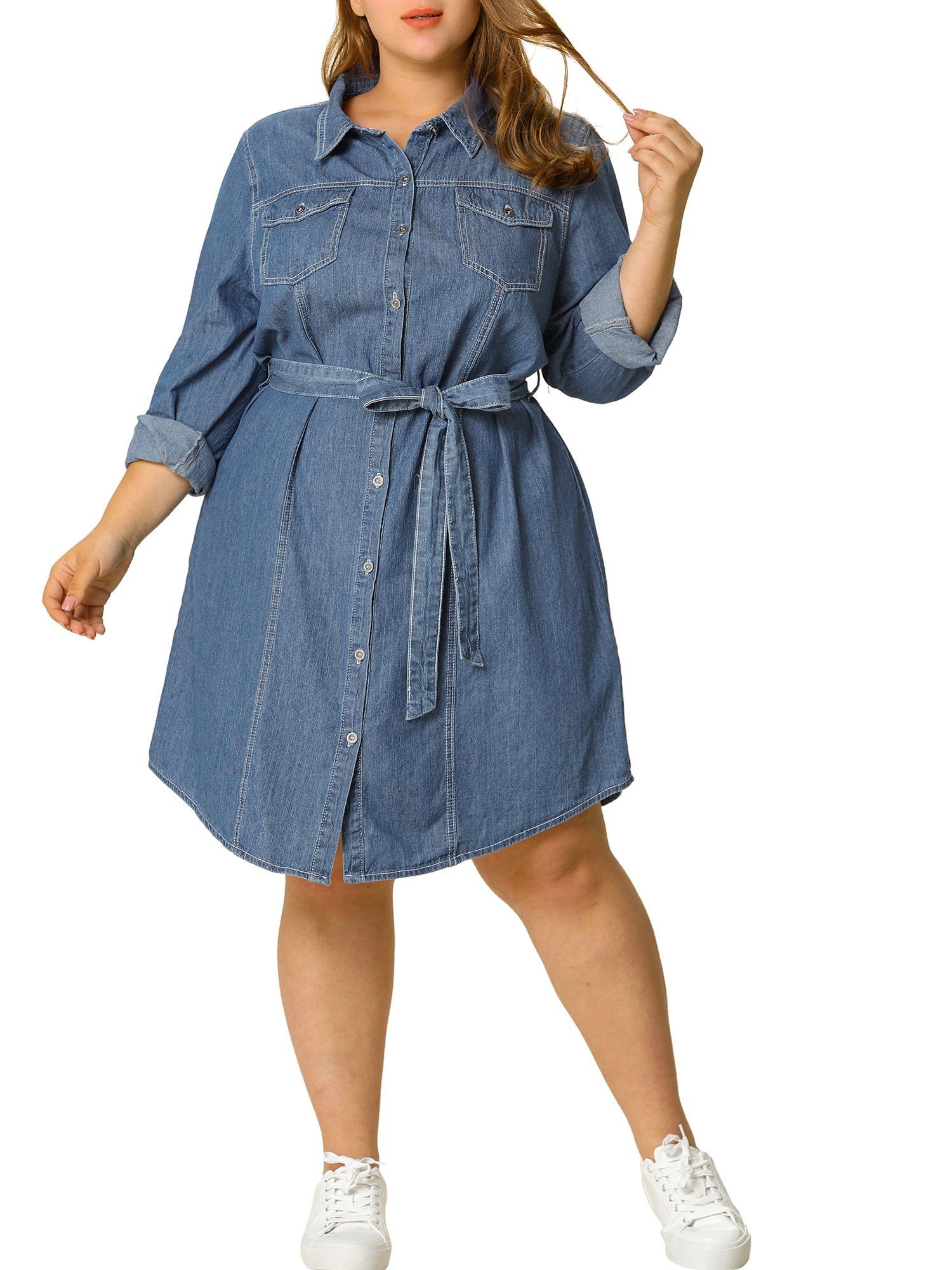 Unique Bargains - Women's Plus Size Long Sleeve Belted Above Knee ...