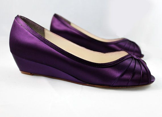 Purple Wedding Shoes Wedge Low Heel 1 Inch By Thecrystalslipper