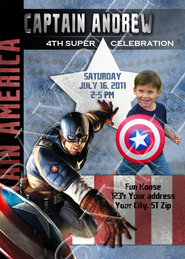 printable captain america birthday invitations