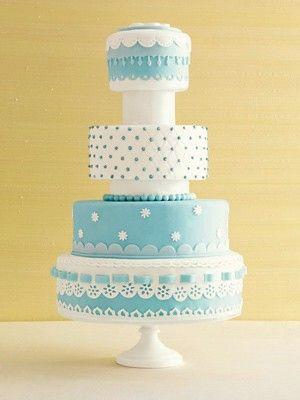 White and Tiffany Blue Wedding Cake