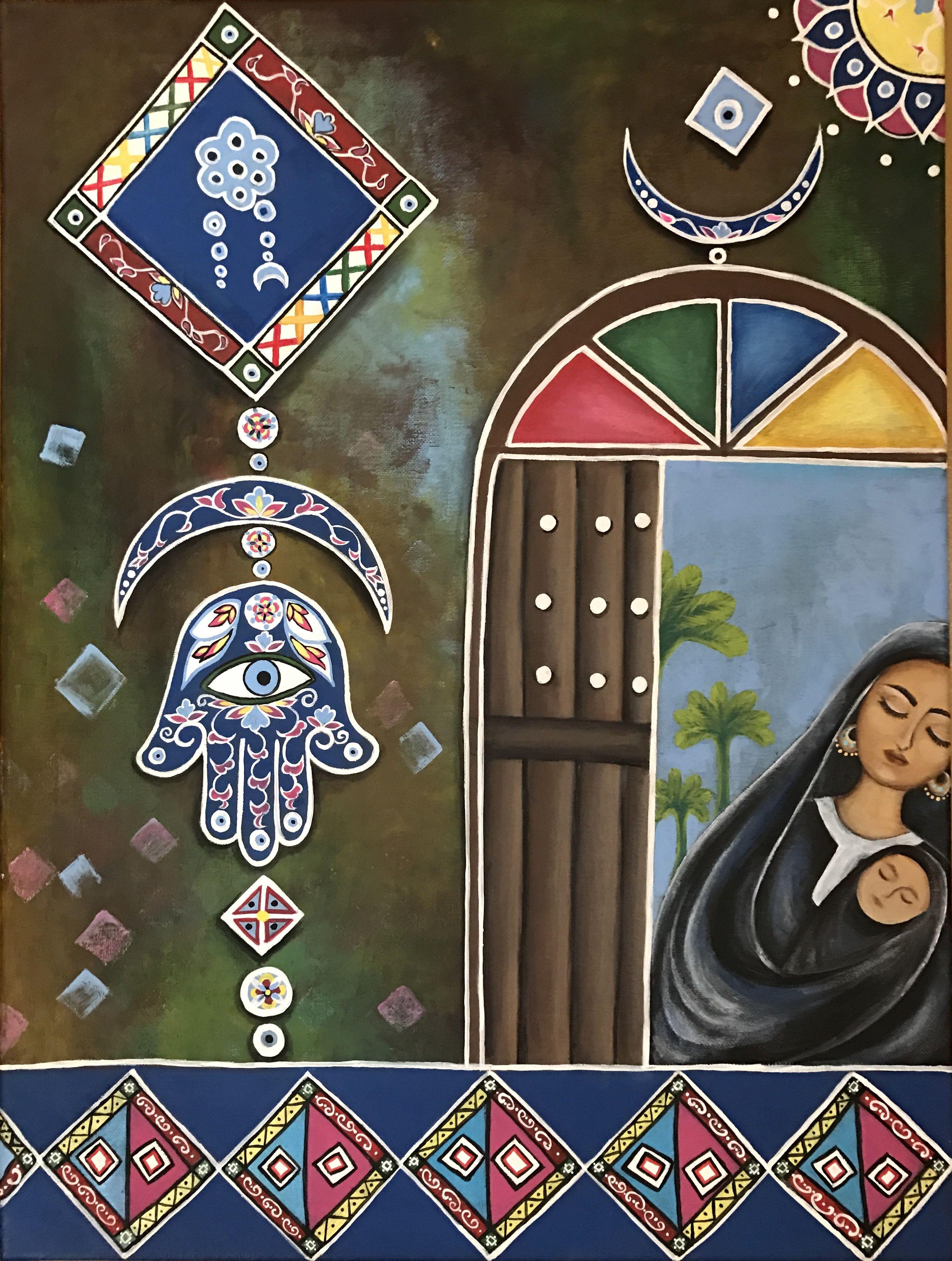 رسومات عراقية فن تشكيلي Hamsa Hand If Fatimaعراقي عن الأم African Art Paintings Egyptian Painting Canvas Art Painting