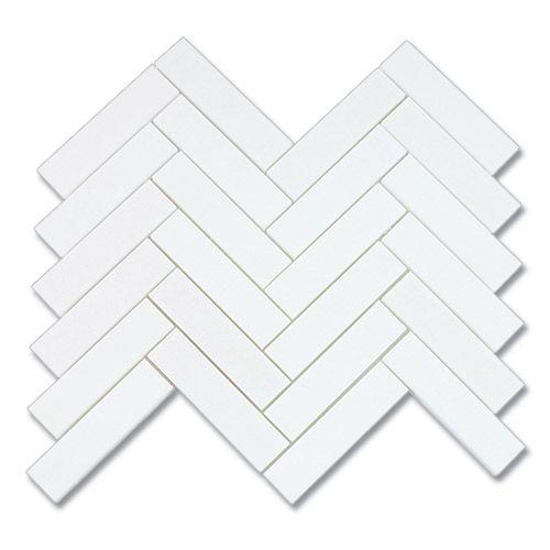 1x4 thassos white herringbone polished mosaic marble tile for Small bathroom herringbone tile
