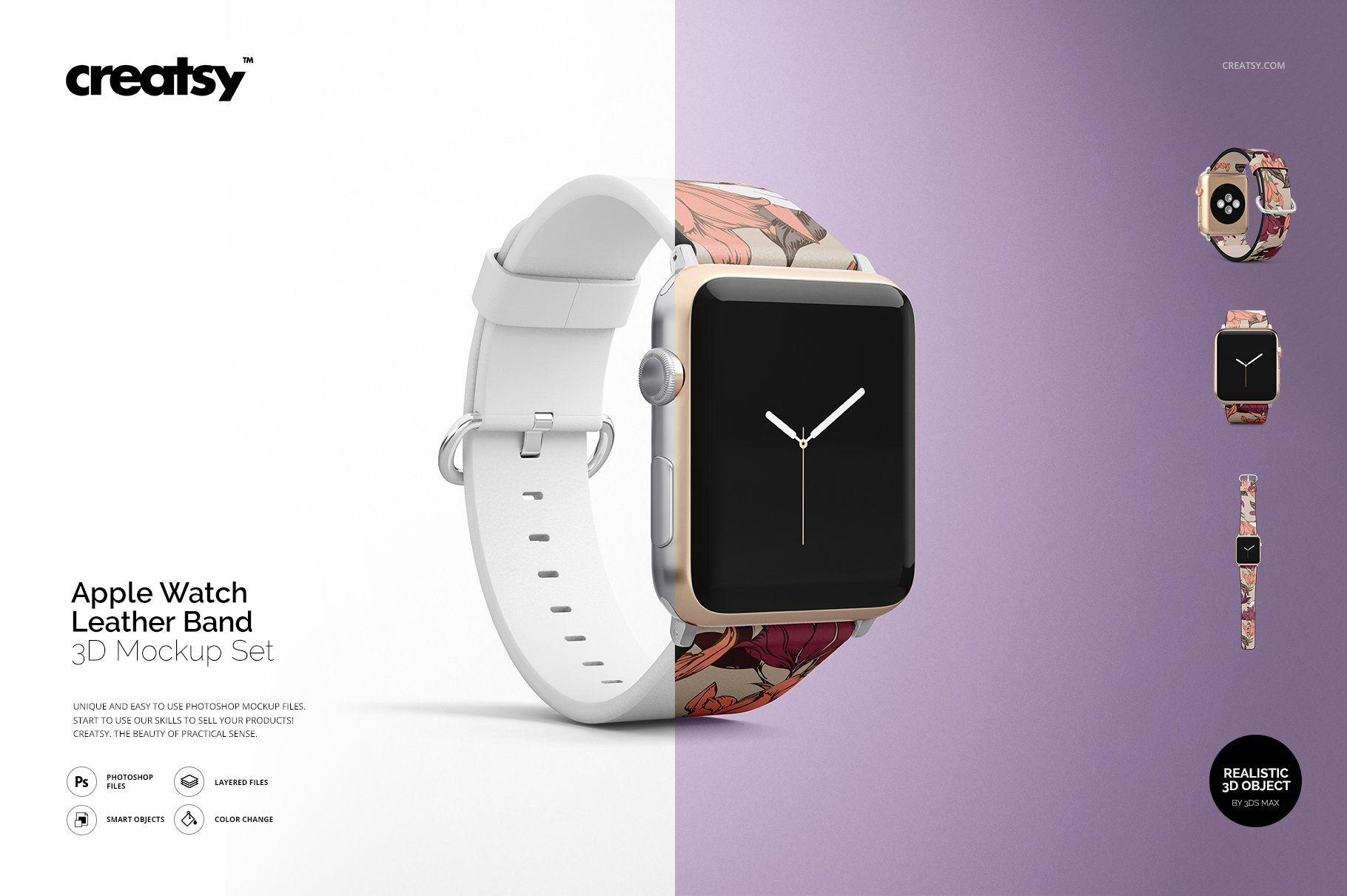 Apple Watch Leather Band Mockup Set 제품, 레이아웃
