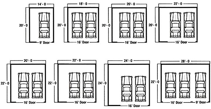 Dimensions for 2 car garage google search garage for 1 5 car garage size