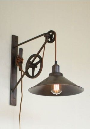 Pulley Light Sconce Wall Mount Adjule Fixture Vintage Antique Rustic