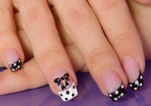 26 Adorable Bow Nail Art Designs and step-by-step tutorial: White Black Polka Dots Black Bows Nail Art Design