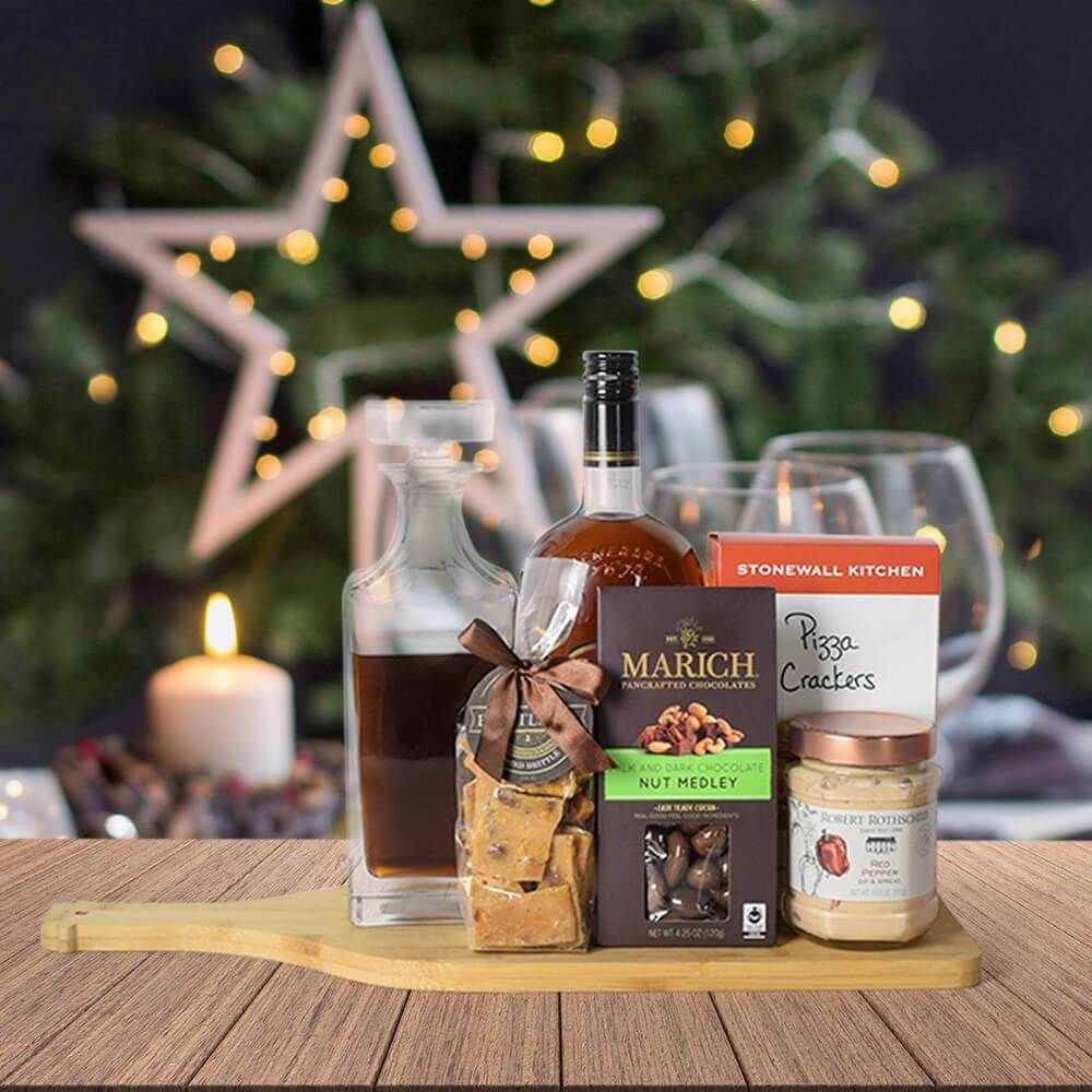 Holiday liquor decanter treats gift basket in 2020