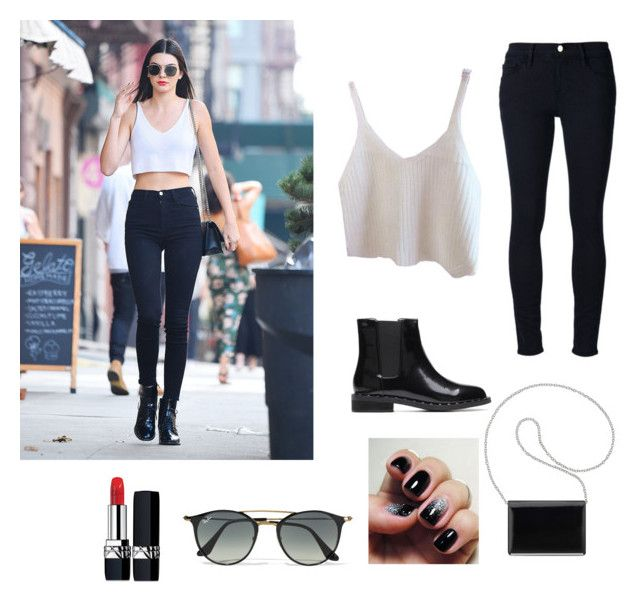 """""""Crop tank top"""" by caramellkitty ❤ liked on Polyvore featuring Frame Denim, Nine West, Christian Dior and Ray-Ban"""
