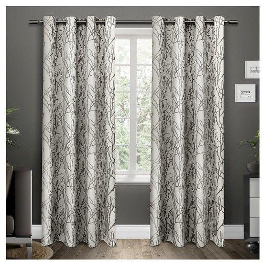 Set Of 2 96 X54 Branches Linen Blend Grommet Top Window Curtain