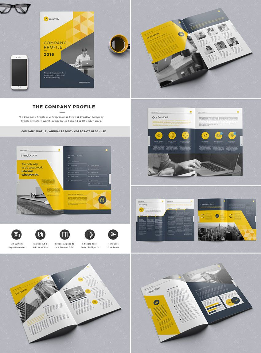 The Company Profile InDesign Template Graphic Design Editorial