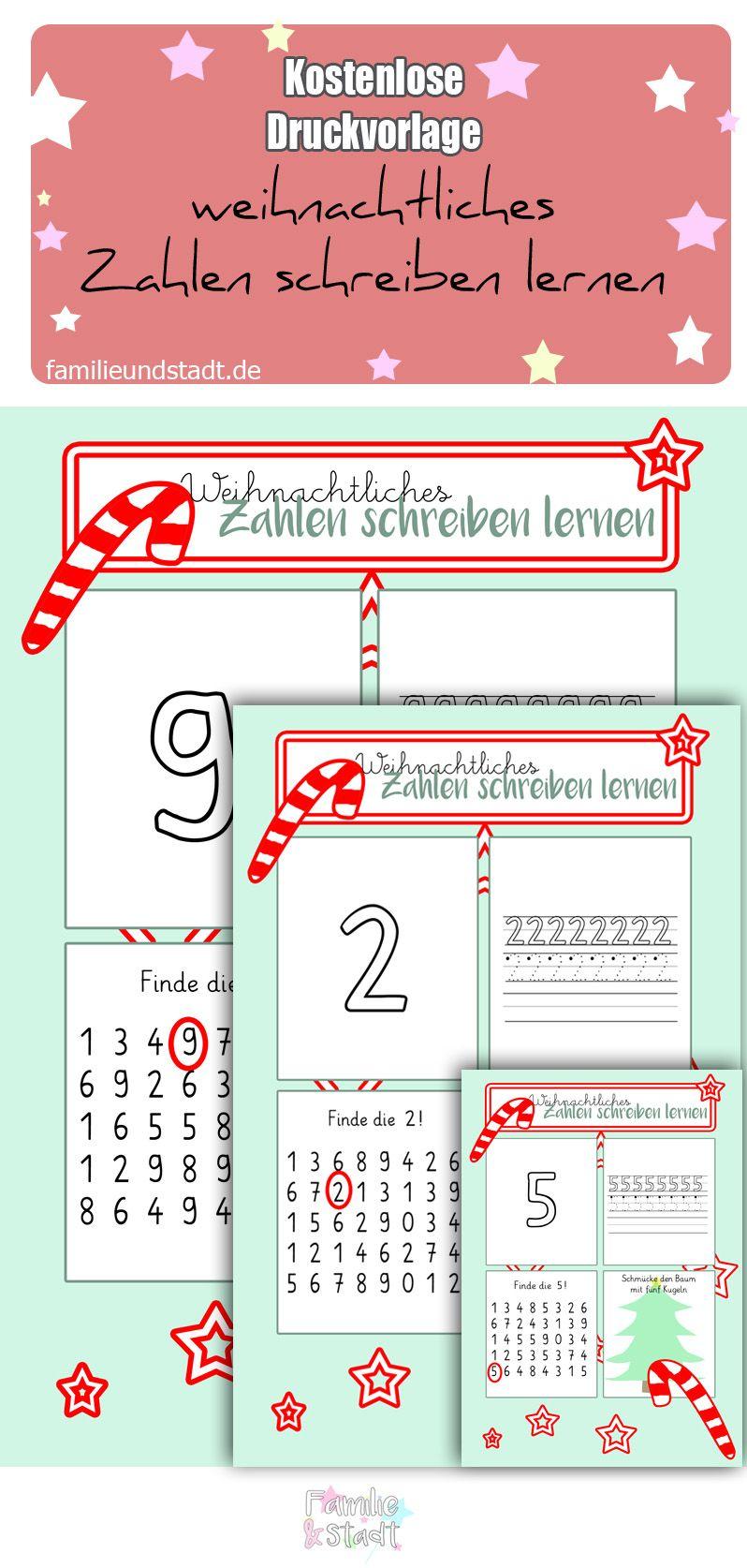 Zahlen schreiben lernen - weihnachtliche Arbeitsblätter | Schulkind ...