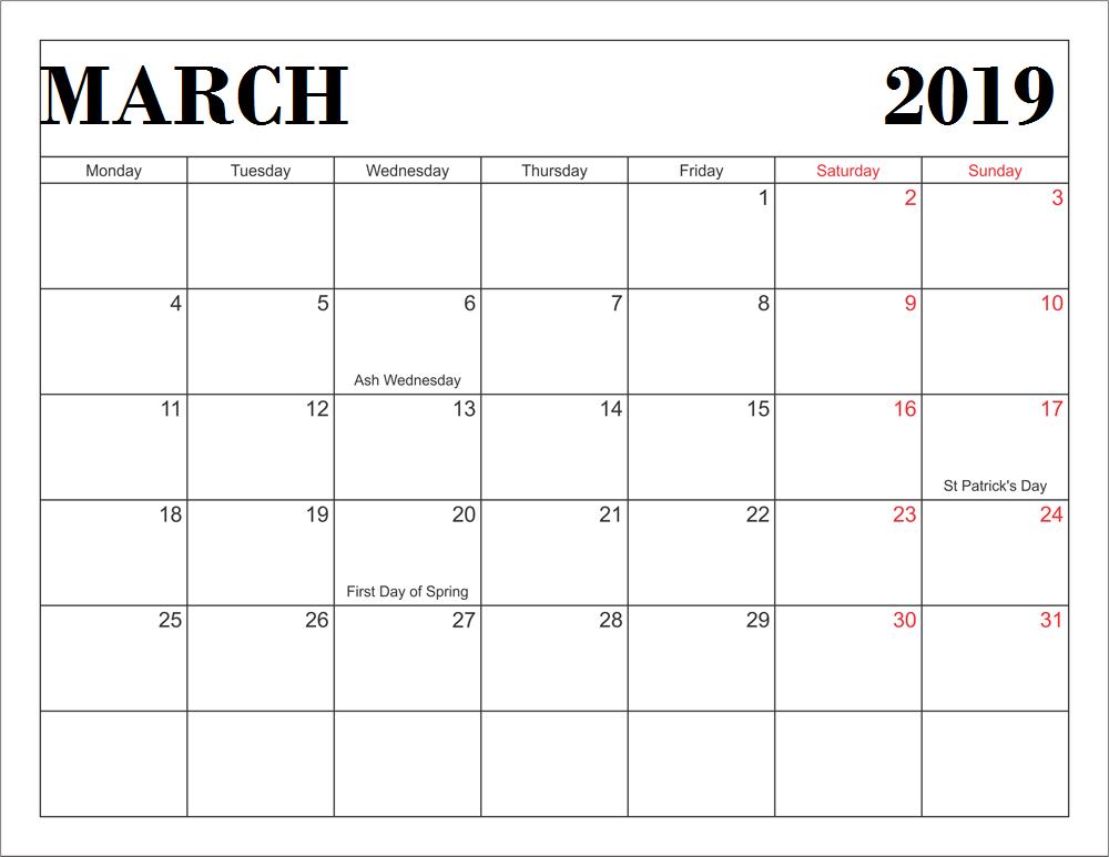 March 2019 Calendar With Holidays Usa Marchcalendar