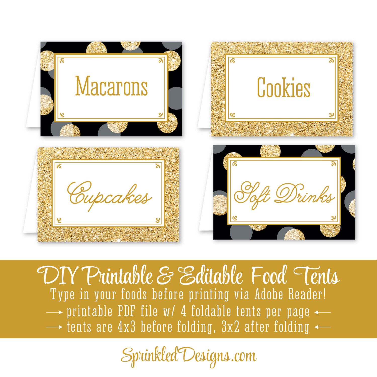 Black Gold Glitter Printable Party Food Tents Folding Editable Buffet Labels Place Cards Wedding Birthday Baby Shower Bridal Shower Gold Glitter Printable Food Tent Party Printables