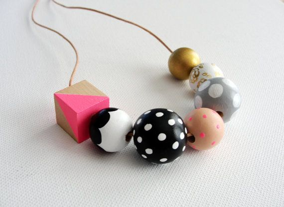 Polka Dot Meets Geometry   Hand Painted Wood Bead by CuppaColor