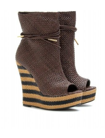 Burberry Prorsum  WOVEN LEATHER BOOTS