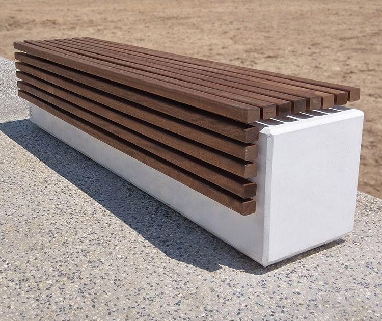 Très guyon mobilier urbain banc béton assise bois givors (2) | Béton  VG02