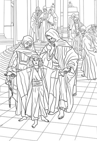 12 Year Old Jesus Found in the Temple coloring page from