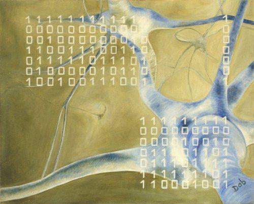 """""""Intelligenze a confronto"""" -Olio su tela -40x50- 2009-Daniela Biganzoli    L'intelligenza umana viene qui rappresentata dai neuroni che  fanno da sfondo all'opera, mentre il Sistema Binario simboleggia l'Intelligenza Artificiale."""